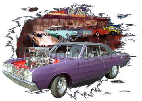 1969 Plum Blown Dodge Dart Custom Hot Rod Diner T-Shirt 69 Muscle Car Tees