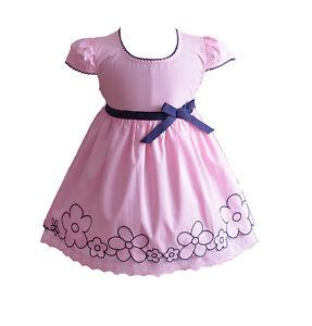 4a476cc581d30 Bébé Filles Robe Fleurie de Fête Rose Jaune Bleu White 6 9 12 18 24 ...
