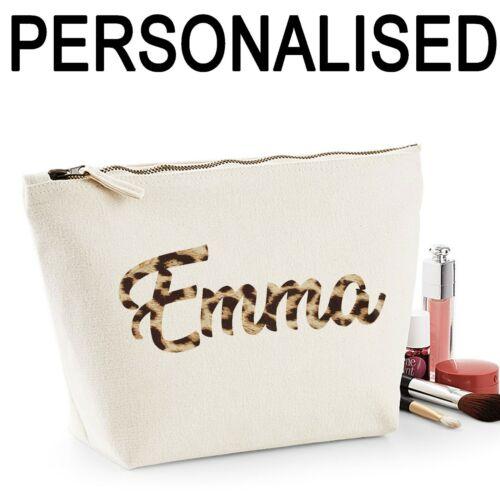 Nome Personalizzato Women/'s Make Up Bag Matrimonio Regalo Di Compleanno Mamma leopardo stampa