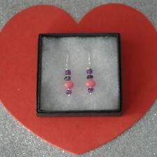 Beautiful Earrings With Pink Morganite And Amethyst 2.7 Gr.2.8 Cm. Long + Hooks