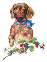 Christmas Holly Dachshund Daschund Dog Weiner Quilting Fabric Block 5x7