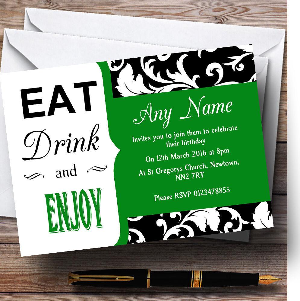Green damassé vintage vintage damassé Eat drink Personnalisé Fête D'Anniversaire invitations cd30f3