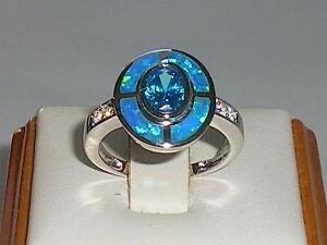 Damen-Art-Deco-Sterling-925-feste-Silber-Opal-Saphir-amp-Aquamarin-Ziel-Ring