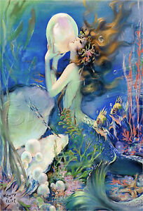 VINTAGE Fantasy PEARL Bubble MERMAID Ocean SEA NYMPH *CANVAS* Art PRINT ~ LARGE