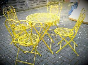 Das Bild Wird Geladen Garten Garnitur Stuehle1 Eisen Tisch Gartenmoebel  Klappbar Haus