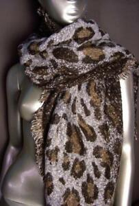 EXOTIC-Soft-Brown-Leopard-Print-Crochet-Knit-Long-Asymmetric-Wrap-Scarf