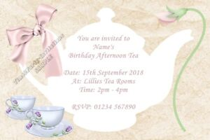 Personalised Afternoon Tea Party Invitations Birthday Garden Party