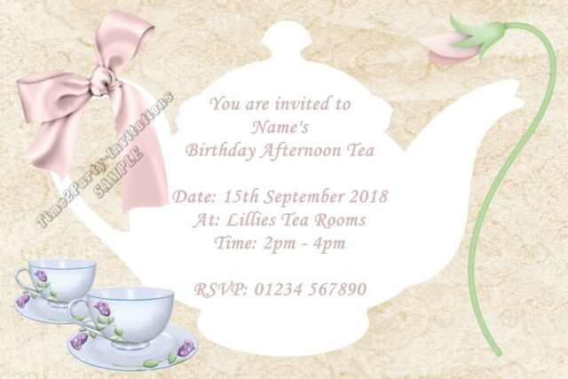 Personalised Afternoon Tea Party Invitations Birthday Garden Party Picnic