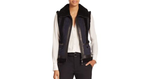 LeatherShearling Two Suede ToneSmall Moto Vince getrimd Vest 0PwnOk