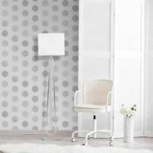 Grand-Pois-a-Pois-World-Of-Wallpaper-A617-Cao-4-Gris-amp-Argent-Metallique