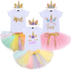 212bd76a3901 Image is loading Baby-Girl-1st-Birthday-Party-Unicorn-Toddler-Romper-