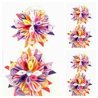 Handmade Girls Rainbow Hair Bow Bobbles Sold In Pairs