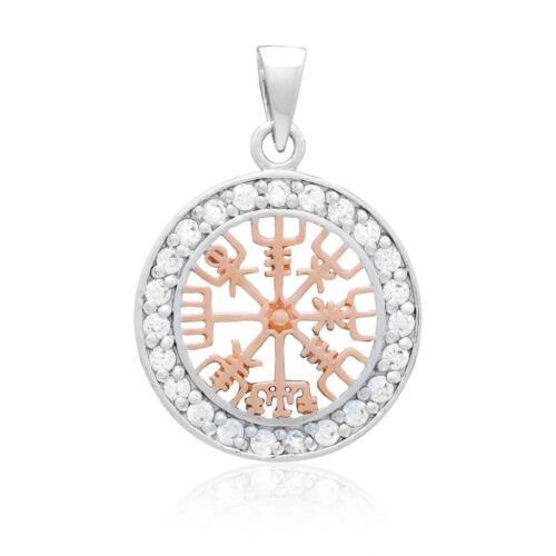 925 plata esterlina con chapado en oro rosa Viking Vegvisir Cubic Zirconia encanto