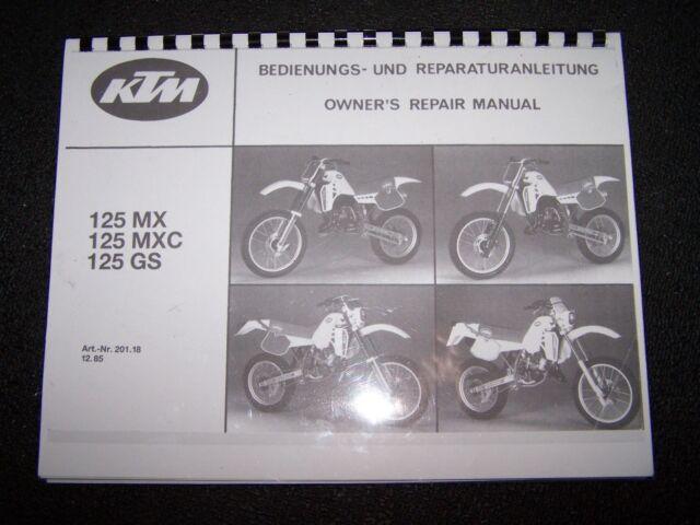 Ktm 125 Mx Mxc Gs Owners Repair Manual Book Guide