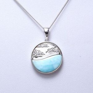 925-Sterling-Silver-Natural-Dominican-Larimar-CZ-Gemstones-Pendant-Necklace-18-034