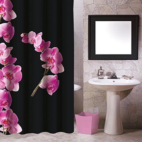 3 tlg BAD-SET DUSCHVORHANG & WC SITZ & KOSMETIKEIMER FLOWERS