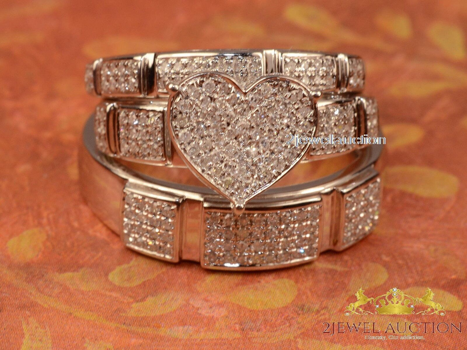 Round Diamond Bride & Groom Wedding Engagement Trio Ring Set 14K White gold Over