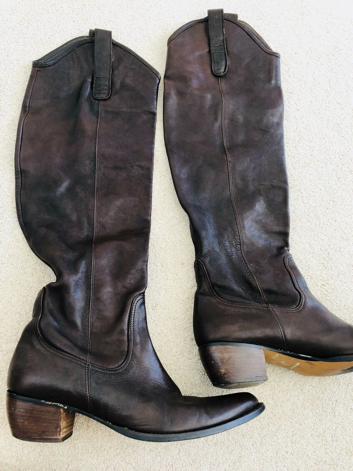 Brown Genuine Leather High Knee Boots Size 41 shoes