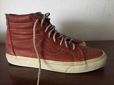 VANS Cognac Leather Sk8 Hi Men Size 10