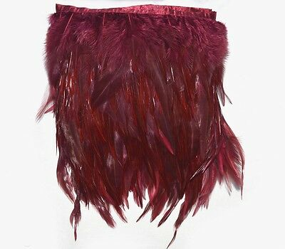 F289 PER FEET- Burgundy Red Rooster Hackle Hen feather fringe Trim Material