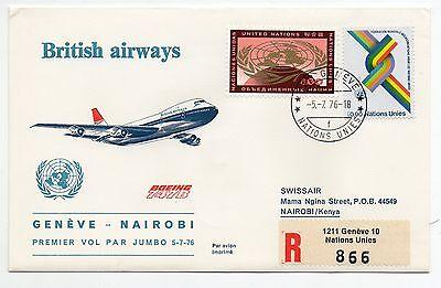 Helder 1976 Nationes Unies British Airways Volo Geneve-nairobi C/1617 Goederen Van Hoge Kwaliteit