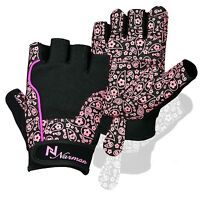 Ladies Gel Gloves Fitness Gym Wear Weight Lifting Training Cycling Pink/black