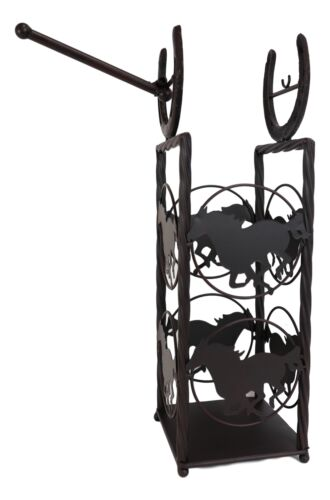 Cast Iron Western Rustic Horse And Horseshoes Toilet Paper Holder Stand Station