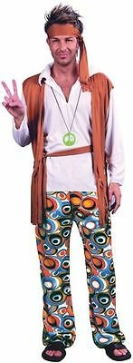 Adult 60s 70s Groovy Flower Hippy Mens Fancy Dress Stag Party Costume Outfit