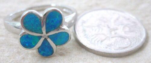 REAL sterling silver Blue Green Created Opal FRANGIPANI Ring L N P R TEEN GIRL