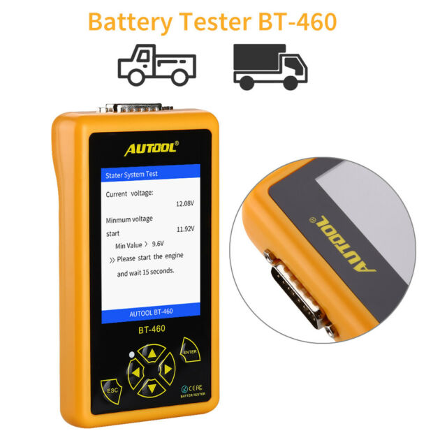 AUTOOL BT460 Battery Charger Tester Battery Analyzer for 12V 24V Heavy Duty Auto