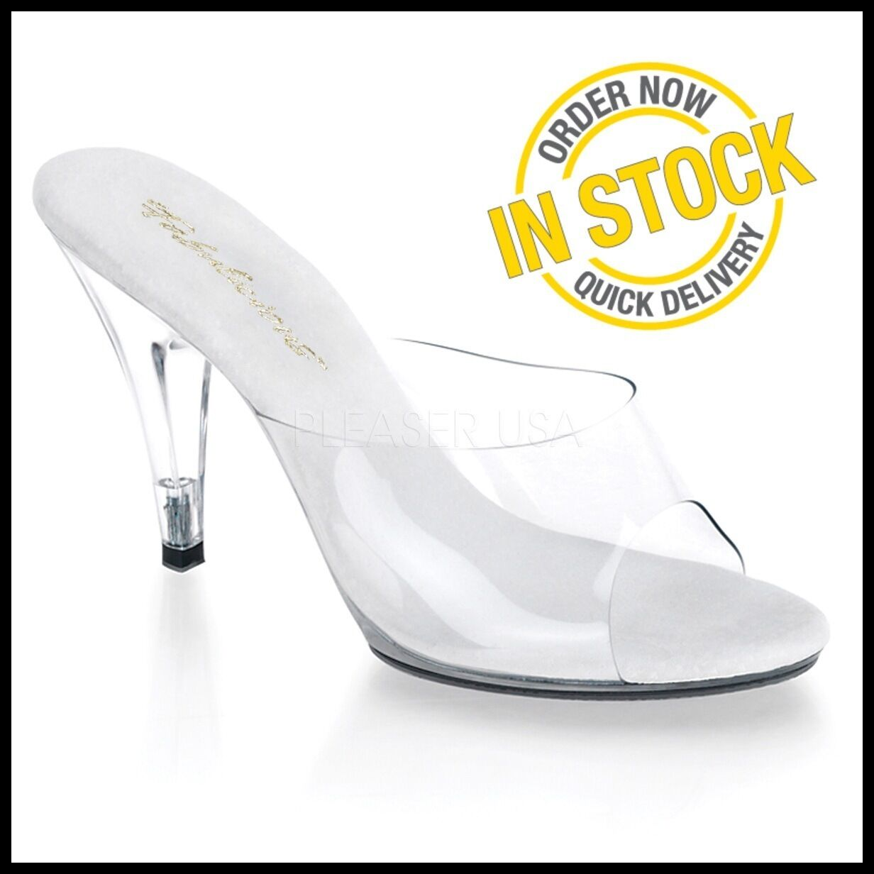 Caress-401 Nuevo Posando Comp Zapatos Transparente Tacones Bikini competencia Sandalias 4 Pulgadas