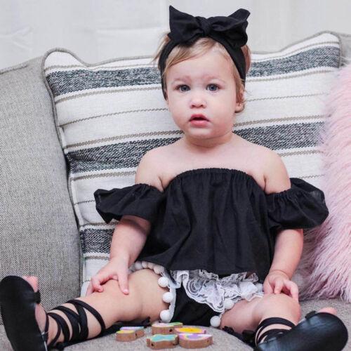 3PCS Toddler Newborn Baby Girl Off Shoulder Tops+Shorts Pants+Headband Outfit US
