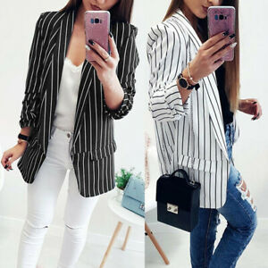Lady-Office-Fall-Women-Long-Sleeve-Striped-Stylish-Duster-Blazer-Jacket-Coat-h8