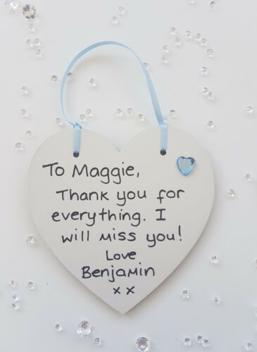 Personalised Heart Plaque End term leaving Thank You Gift nursery school teacher