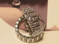 Platinum Silver Cz Vine Hoop Earrings - Lovely Earrings