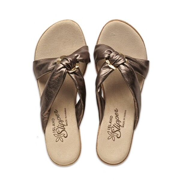 Island slippper Pewter Cuir Slide Plate-Forme Confort Taille 5