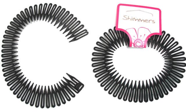 2 Black Flexi Comb Headband Elasticated Gym Mens Hair Accessory