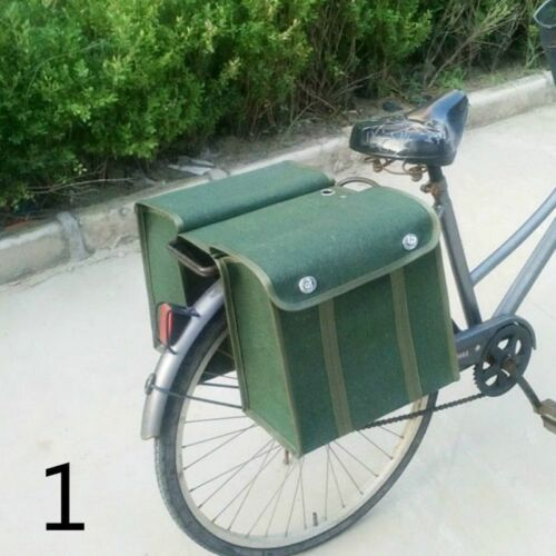 1980s Army Canvas Double Pannier Bags Green Bike Rear Seat Vintage Military New