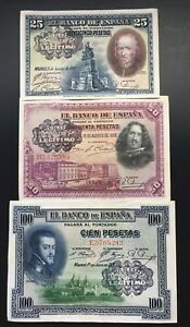 LOTE-3-BILLETES-PESETAS-1925-1928-Banco-Legitimo-Muy-Raros