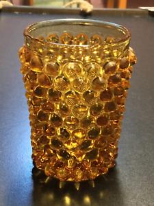 Hobbs-Brockunier-Amber-Glass-Hobnail-Tumbler-c1890s
