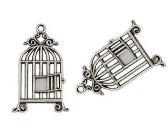 20Pcs Tibetan Silver bird cage charms T15057