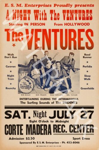 A Night With The Ventures 1965 Vintage Concert Poster The Ventures