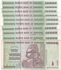 10 X Zimbabwe 50 Trillion Dollars CIRCULATED AA/2008 / $100 Trillion Series