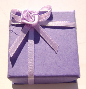 1502PK  Gift Box Ring, Studs, Paper, Lavender Purple with Ribbon & Bow, 1 Qty