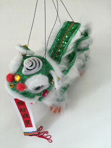 CHINESE NEW YEAR GREEN PUPPET LION DRAGON HEAD DANCE ...