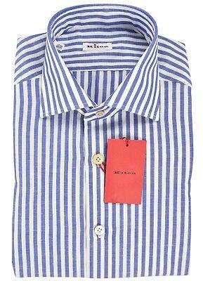 BELVEST Blue Striped Linen Blend Dress Shirt Size 40 EU 15.75 US