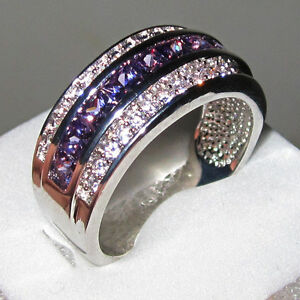 Classic-Amethyst-Jewelry-10KT-White-Gold-Filled-Mens-Band-Ring-Size-8-12-Gift