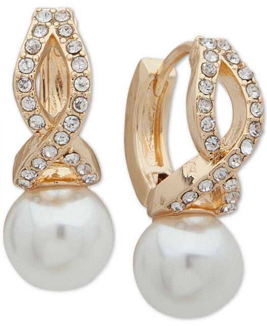 Pearl Crystal Gold Huggies