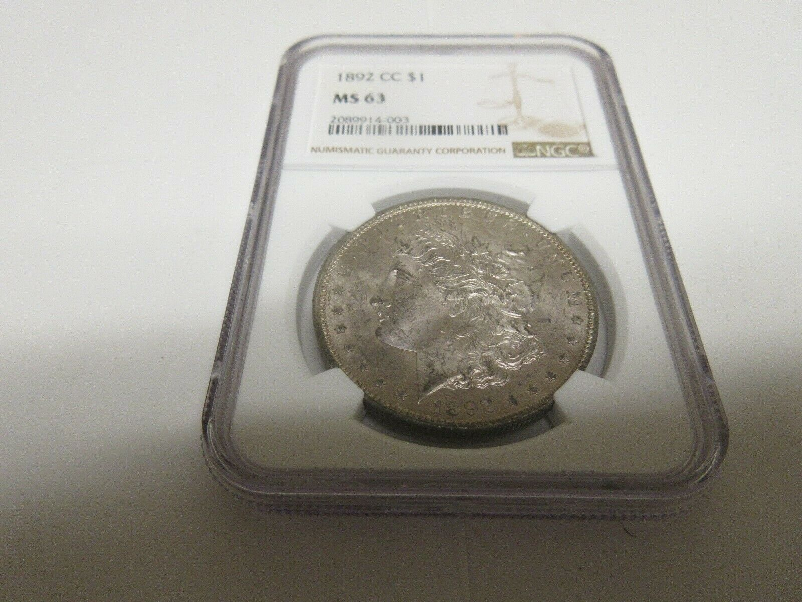 1892 CC , Carson City Dollar , MS 63