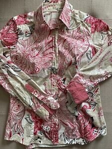 Etro Raspberry Paisley Print Buttoned Up Long Sleeve Shirt Womens Size 42 (M)